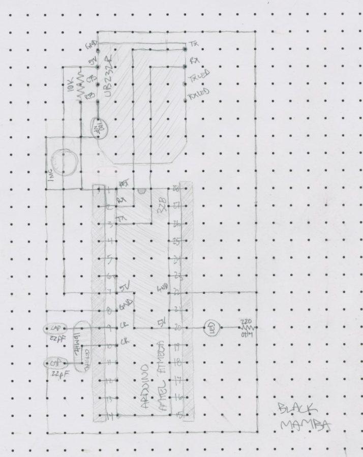 Arduino minimal design sketch with the UB232R